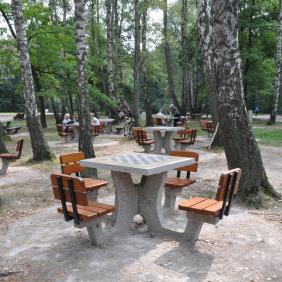 Betonowy stół do gry w szachy/chińczyka