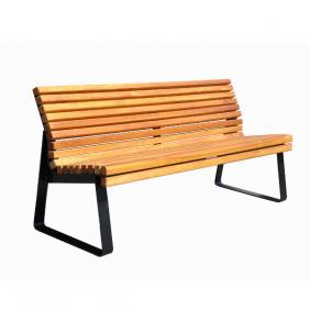 Ławka metalowa z drewnem egzotycznym IROKO kod: 482